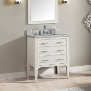 Azzuri Arlington 31 in. Vanity in White finish with Carrera White Marble Top https://ak1.ostkcdn.com/images/products/15050749/P21544140.jpg?impolicy=medium