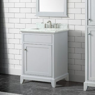Azzuri Aurora 25 in. Vanity in Light Gray finish with Carrera White Marble Top