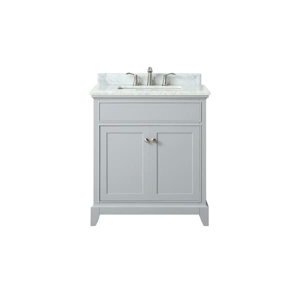 Azzuri by Avanity Aurora 31-inchVanity in Light Gray finish with Carrera White Marble Top