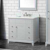Azzuri Aurora 37 in. Vanity in Light Gray finish with Carrera White Marble Top