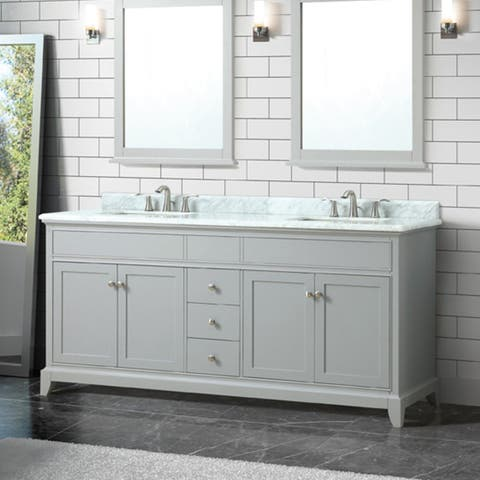 Azzuri Aurora 73 in. Double Sink Vanity in Light Gray finish with Carrara White Marble Top