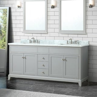 Azzuri by Avanity Aurora 73-inchDouble Sink Vanity in Light Gray finish with Carrera White Marble Top