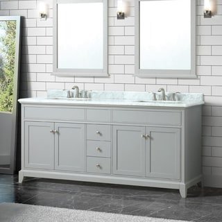 Azzuri By Avanity Aurora 73 InchDouble Sink Vanity In Light Gray Finish  With Carrera White