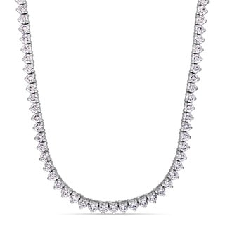 Miadora Signature Collection 14k White Gold 9 1/2ct TDW Diamond Tennis Necklace