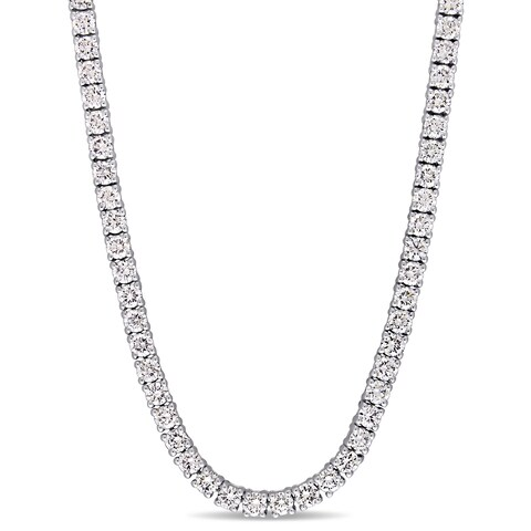 Miadora Signature Collection 14k White Gold 9 1/5ct TDW Diamond Tennis Necklace