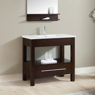 Azzuri CityLoft 37 in. Vanity in Espresso finish with Integrated White Vitreous China Top