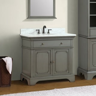 Azzuri Hastings 37 in. Vanity with Carrera White Marble Top