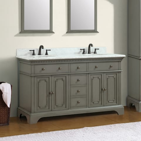 Azzuri Hastings 61-inch Double Sink Vanity Combo with Carrara White Marble Top