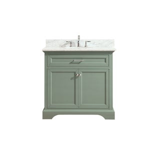 Azzuri Mercer 37 in. Vanity in Sea Green finish with Carrera White Marble Top