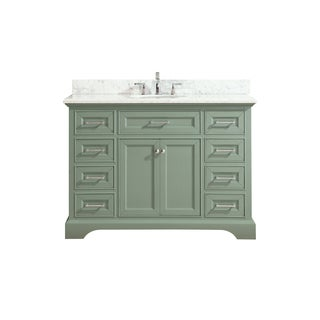 Azzuri by Avanity Mercer 49-inchVanity in Sea Green finish with Carrera White Marble Top