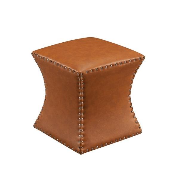 Faux Leather Bohemian Square Ottoman