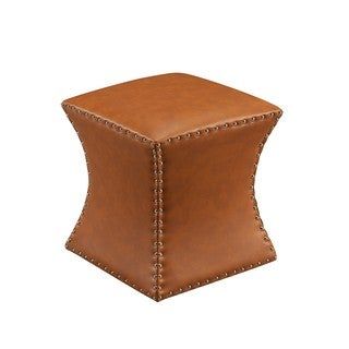 Faux Leather Bohemian Square Ottoman - Thumbnail 0