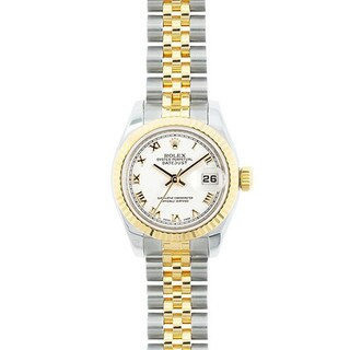 Pre-owned Rolex Mid 2000's Model 179173 Women's Datejust 18K Yellow Gold and Stainless Steel White Dial Watch