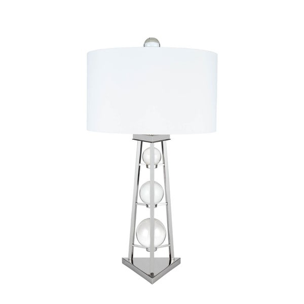 Crystal Tower Chrome Finish 3-setting Table Lamp