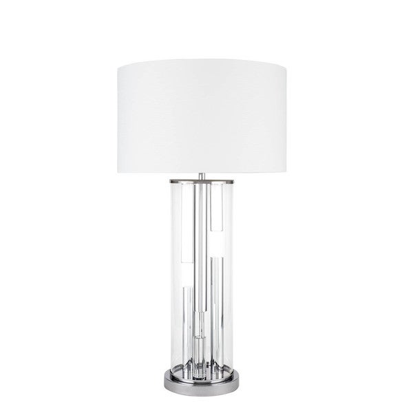 Crystal Cylinder Silver Chrome 3 Brightness Settings Table Lamp