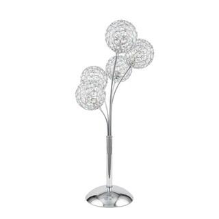 Thailand Crystal Domes Chrome Base 5-light Table Lamp