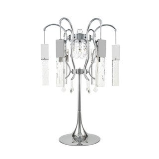 Retro Chic Silver Chrome Crystal Chandelier Table Lamp