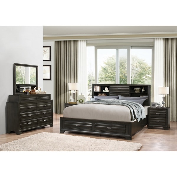 Shop Loiret Antique Grey Finish Wood Bed Room Set Queen