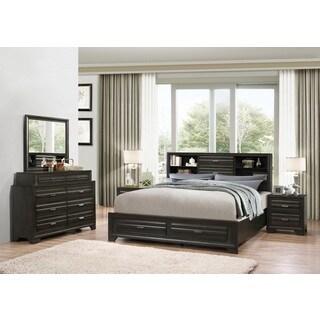 Loiret Antique Grey Finish Wood Bed Room Set, Queen Storage Bed, Dresser,  Mirror