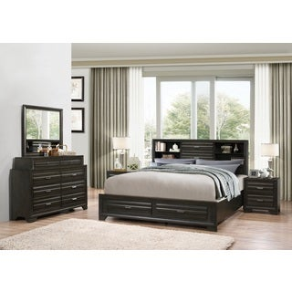 Loiret Antique Grey Finish Wood Bed Room Set, King Storage Bed, Dresser, Mirror, 2 Night Stands