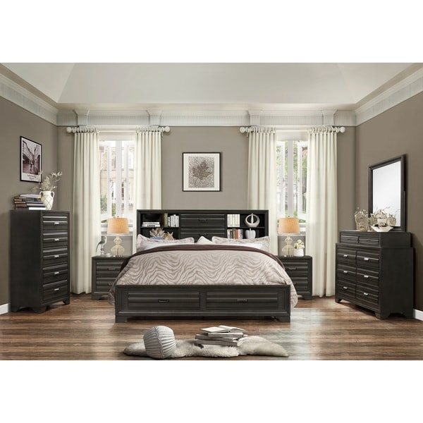 Shop carbon loft pavlov antique grey finish wood king storage 6 piece bedroom set free for Grey wood bedroom furniture set