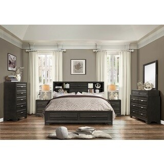 Loiret Antique Grey Finish Wood Bed Room Set, King Storage Bed, Dresser, Mirror, 2 Night Stands, Chest