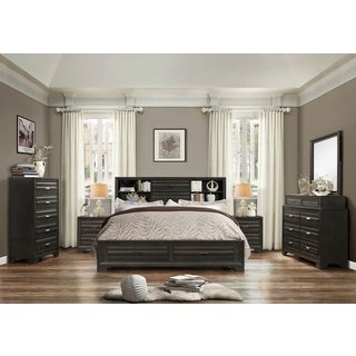 Loiret Antique Grey Finish Wood Bed Room Set, King Storage Bed, Dresser,  Mirror