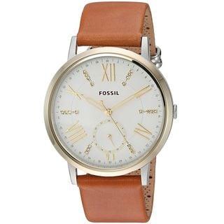 Fossil Women's ES4161 'Gazer' Crystal Brown Leather Watch
