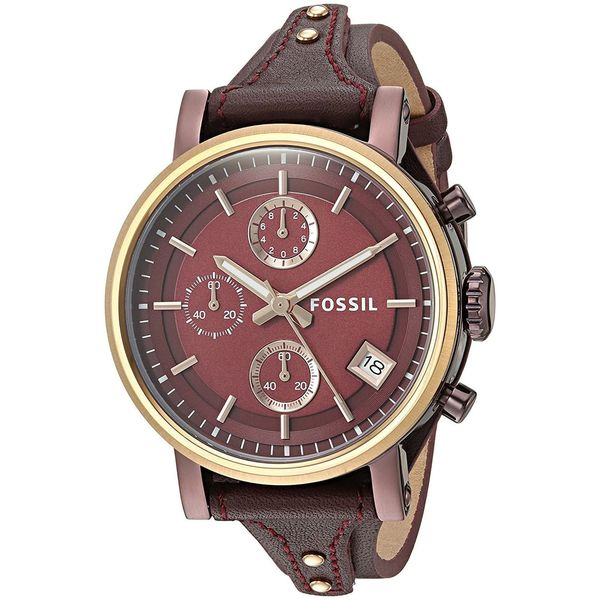 c0e591608 Shop Fossil Women's 'Original Boyfriend' Chronograph Red Leather Watch -  Free Shipping Today - Overstock - 15050936