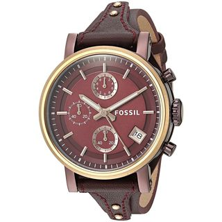 Fossil Women's ES4114 'Original Boyfriend' Chronograph Red Leather Watch