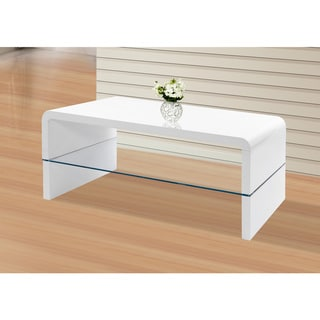 Best Master Furniture TR315 White Wood/Glass Modern Coffee Table