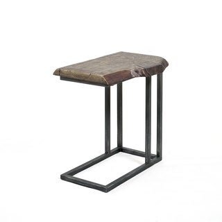 Best Master Furniture YFT5 Brown Metal and Wood C-shaped Side Table