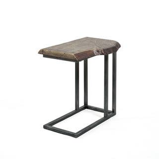 Best Master Furniture Yft5 Brown Metal And Wood C Shaped Side Table