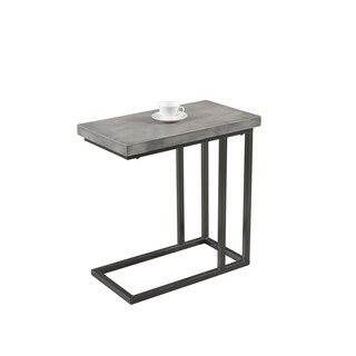 Best Master Furniture YFT3 Metal and Wood Side Table - Grey