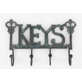 Benzara Turquoise Iron Prompting Key Sign Wall Hook