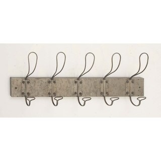Antiqued Wood Wall Hook With 5 Looped Hooks