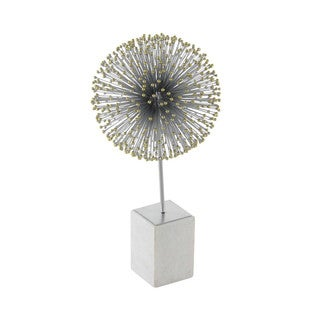 Benzara Matte Grey Metal/Marble Star Ball Statue