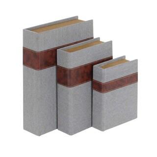 Benzara Wood and Fabric Book Box Set (Pack of 3)