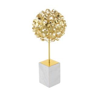 Benzara Gloss Gold Metal Marble Seagull Ball