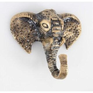 Benzara Antiqued Gold Bronze Rustic Elephant-shaped Wall Hook