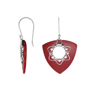 Handmade Sterling Silver Bali Floral Detail Gemstone Dangle Earrings (Indonesia)