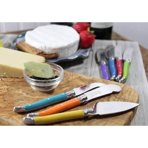 French Home 7 Piece Laguiole Jewel Colors Cheese Knife and Spreader Set