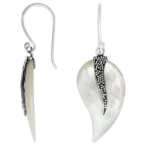 Handmade Sterling Silver Bali Bead Detail Paisley Gemstone Dangle Earrings (Indonesia)