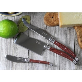 French Home Large Laguiole Pakkawood 3-piece Cheese Knife Set