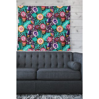 Kess InHouse Carol Schiff Multicolor Floral Wall Tapestry - Green