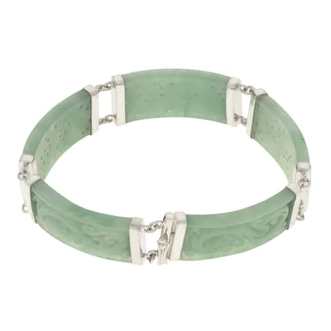 "Gems For You 7.5"" Sterling Silver Carved Jade Dragon Bracelet"