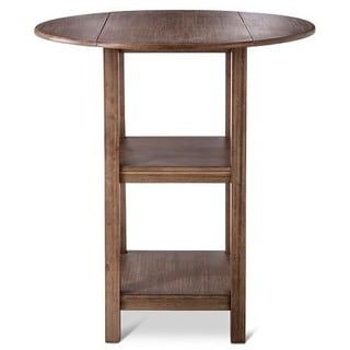 Powellton Wire Brush Brown Rubberwood Double Drop Leaf Pub Table