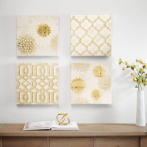 Madison Park White Gilded Grandeur Canvas Art With Gold Foil 4 Piece Set