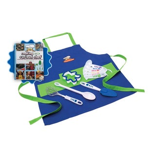 Curious Chef 'Cooking with Curious Chef Cookbook' and 11-piece Blue Chef's Kit Bundle