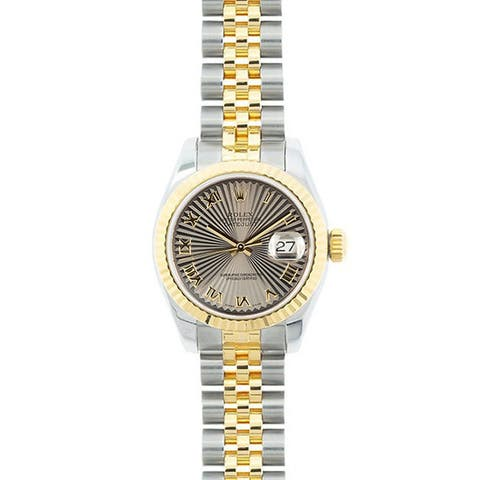 Pre-owned Rolex Mid 2000's Model 179173 Women's Datejust 18K Yellow Gold and Stainless Steel Sunbeam Dial Watch